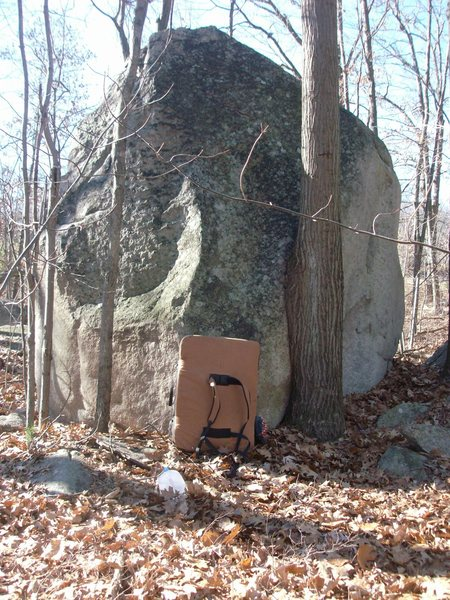 Another awesome boulder hidden in Milford.  This thing has a bunch of trad-esque slab climbs on it.