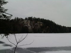 Rock Climbing Photo: From afar, you can see the ice covering The Flywal...