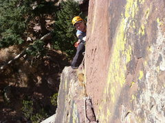 Rock Climbing Photo: Peeking around the corner before the crux.