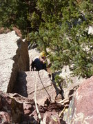 Rock Climbing Photo: Near the top of the first pitch on easy ground.