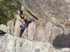Rock Climbing Photo: Just below the crux on the second pitch.  The gear...