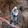 David rapping off of the still-questionable cable after doing the West Crack (which was his first climb out of a gym).  Note the tops of his Converse shoes.  He didn't even slip.  The climbing is easy-breezy here.