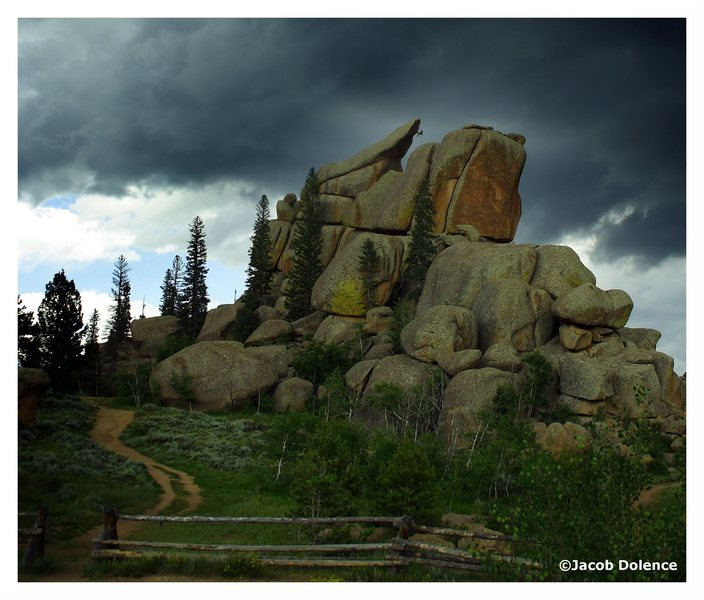Climbers escaping The Nautilus moments before a thunderstorm.
