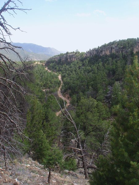 Rock Climbing Photo: View of Cactus Rose Cliff and the road back out to...