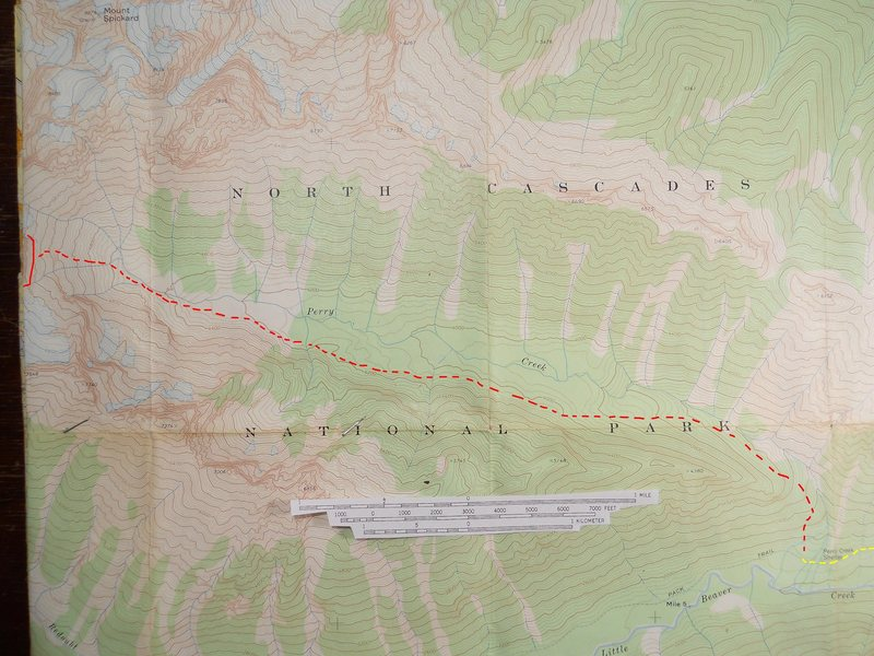 Rock Climbing Photo: Perry Creek Approach  Red marks my guess for a cro...
