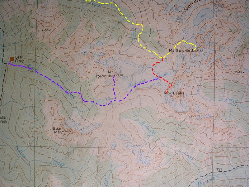 East Chilliwack Range<br> <br> Yellow - Depot Creek Route<br>