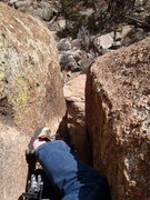 Rock Climbing Photo: Looking back down the chimney on the Dark Meat Var...