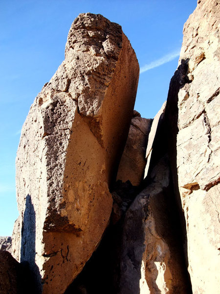 the dagger-shaped Secret Arete boulder