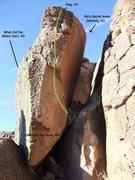 Rock Climbing Photo: routes on the Secret Arete boulder