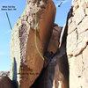 routes on the Secret Arete boulder