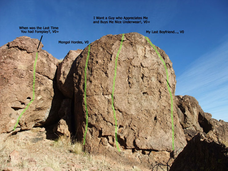 Rock Climbing Photo: routes on the north side of The Citadel boulder