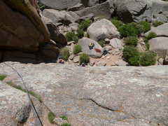 Rock Climbing Photo: looking down from the 3rd belay station on Walt's ...