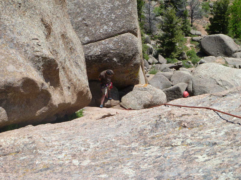 The ledge from the 4th belay/rap anchors.