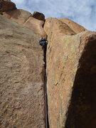 Rock Climbing Photo: Me leading Sidewinder.