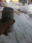Rock Climbing Photo: Solo with cheap beer!