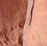 Rock Climbing Photo: Looking at the scary traverse from the bolt anchor...
