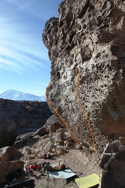 Rock Climbing Photo: Blood Simple Wall in profile Topo