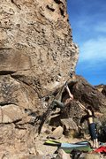 Rock Climbing Photo: Moving up the steep opening wall on Blood Simple, ...