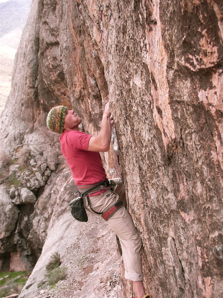 Rock Climbing Photo: Ben Eaton holding onto the last of the pockets, lo...