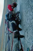 Rock Climbing Photo: On a bolt ladder, The Prow, Washington Column, Yos...