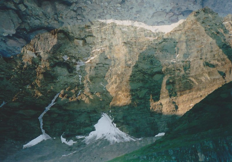 Rock Climbing Photo: Reflection of Temple's North Face in Lake Annette.