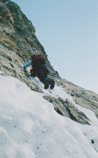 """The rightward traverse out of """"The Dolphin"""".  Quite sketchy in these (lean) conditions."""