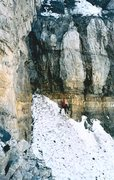 Rock Climbing Photo: Around a buttress to the top of the upper snowfiel...