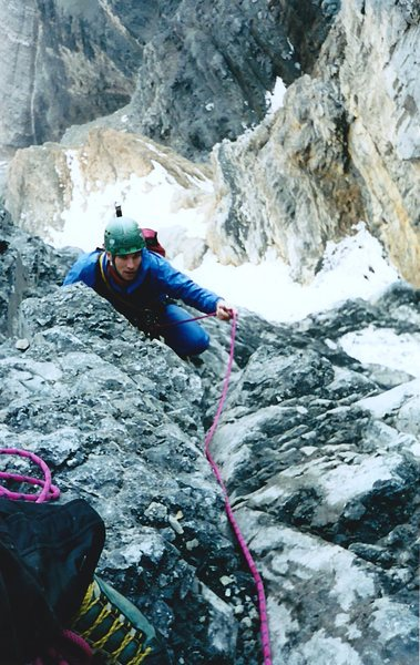 Approaching the belay at the end of the wet chimney pitch.