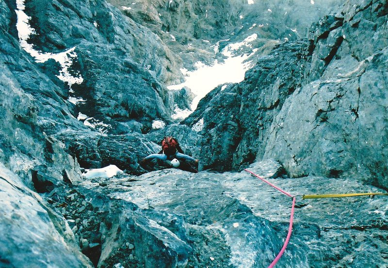 Rock Climbing Photo: Finishing a mellow pitch on the Rock Rib.  Directl...