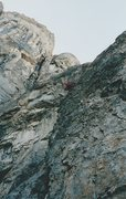 Rock Climbing Photo: Climbing the cruxy slab near the top of the Rock R...