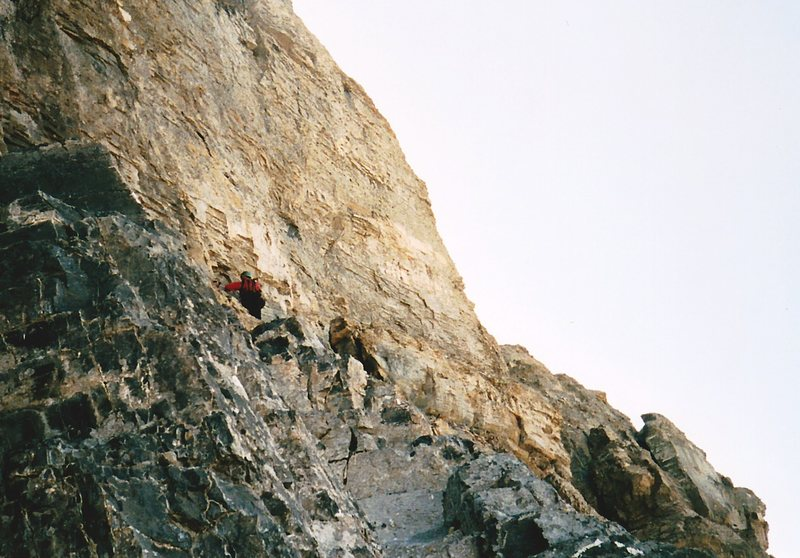 Mike setting up the belay at the Thank God Ledge below the impregnable headwall.