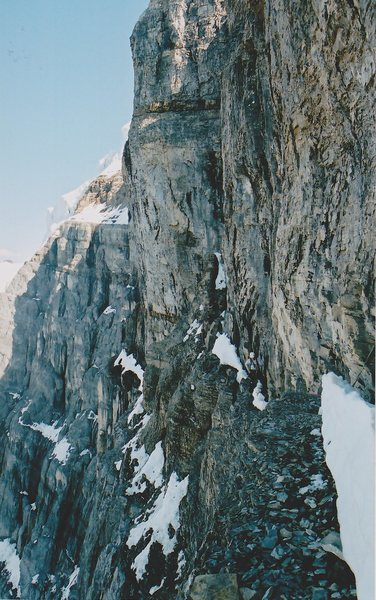 Rock Climbing Photo: Completing the scramble up to the ledge with the e...