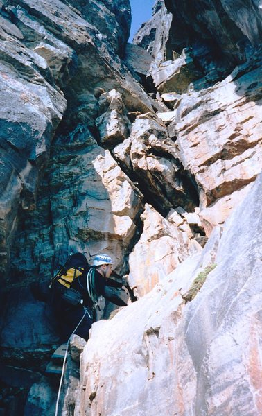 Rock Climbing Photo: Mike begins the final pitch to the top of the Big ...