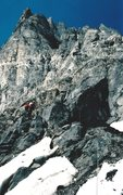 Rock Climbing Photo: Ascending to the next higher ledge, below the Blac...