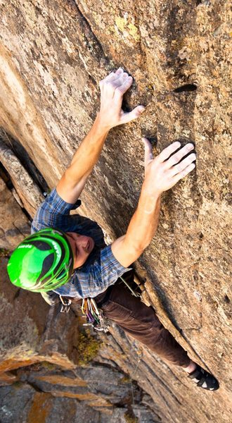 Rock Climbing Photo: Me scraping out the onsight on Epiphany. Photo by ...