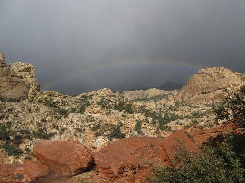 Rainbow over Red Rock.