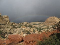 Rock Climbing Photo: Rainbow over Red Rock.