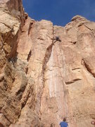 Rock Climbing Photo: Jesse stemming the upper section of Great Expectat...