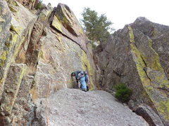 Rock Climbing Photo: Placing gear on the easy 2nd pitch.