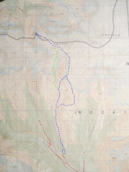 MOUNT COLUMBIA SOUTH SIDE<br> contour interval: 100 feet<br> 1km grid<br> <br> red - logging road<br> blue - South Side Route