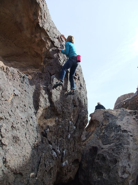 Marsha on Strange boulder