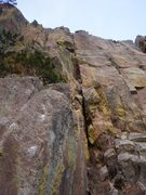 Rock Climbing Photo: Looking up Cold Turkey. The wide junky stuff at th...