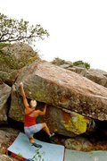 "Rock Climbing Photo: Tember sticking the dyno/lunge move on ""Monst..."