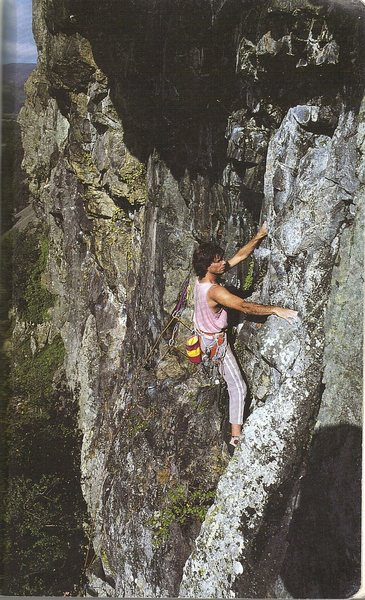 Rock Climbing Photo: Climber at the end of the traverse on the second p...