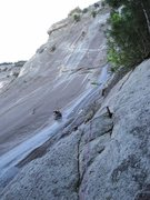 Rock Climbing Photo: Pitch 1 (5.9 C0 or 5.11b) from the base of the cli...