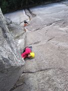 Rock Climbing Photo: classic 10b finger locking on pitch 3.