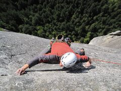 Rock Climbing Photo: the final real pitch (8) follows an exposed dyke.....