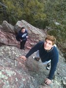 Rock Climbing Photo: Danny and Natalie near the top of Freeway on the S...
