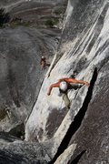 Rock Climbing Photo: the crux of the final pitch... overhanging kneebar...