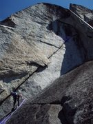 Rock Climbing Photo: atop the Filibuster, looking at the final pitch, o...